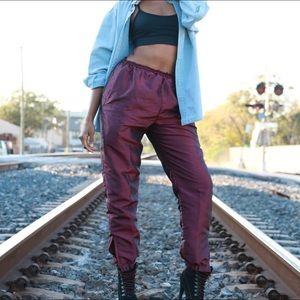 Retro Purple Windbreaker Pants